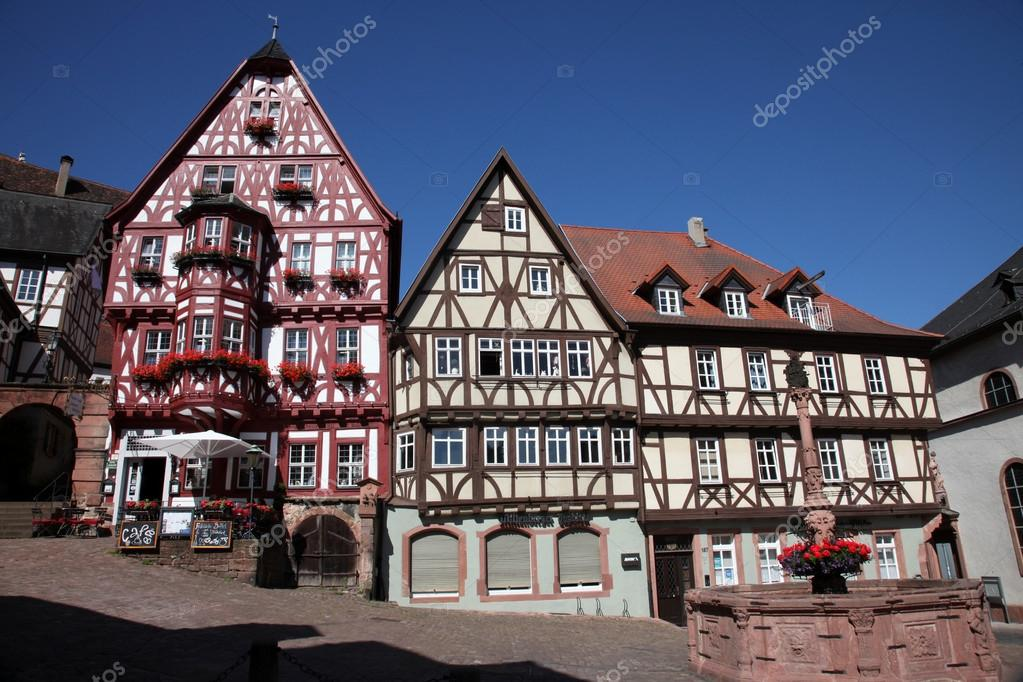 Half timbered old house in miltenberg germany stock for Half timbered house plans