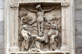 Crucifixion relief sculpture, St. Stephen's Cathedral in Vienna — Stock Photo