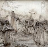 Une plaque de secours, la légende de Charlemagne, église de Saint Pierre à Vienne — Photo
