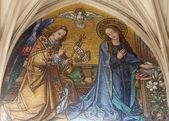Mosaic of Annunciation from main portal of gothic church Maria am Gestade Vienna — Stock Photo