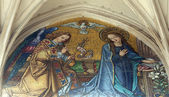 Mosaic of Annunciation from main portal of gothic church Maria am Gestade Vienna — Stock Photo