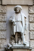 Hugo Haerdtl: Merchant, on the facade of the Neuen Burg on Heldenplatz in Vienna — Stock Photo