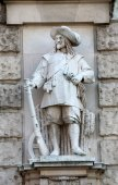 Franz Koch: Soldier of Wallenstein, on the facade of the Neuen Burg on Heldenplatz in Vienna — Stock Photo