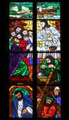 Last supper, Stained glass in Votiv Kirche in Vienna — Stockfoto