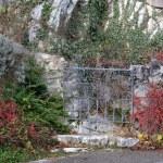 Classical design wrought iron gate in a beautiful garden in Hallstatt, Austria — Stock Photo #62556069