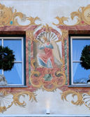 Angel on house facade in St. Wolfgang on Wolfgangsee in Austria — Stock Photo