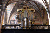 Organ in the choir of Parish church in St. Wolfgang on Wolfgangsee in Austria — Stock Photo