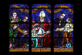 Stained glass in Votiv Kirche (The Votive Church). It is a neo-Gothic church in Vienna — Stock Photo