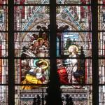 Saint Cecilia, stained glass in Minoriten kirche in Vienna — Stock Photo #62765177