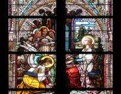Saint Cecilia, stained glass in Minoriten kirche in Vienna — Stock Photo