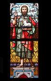 Saint John the Baptist, stained glass in Minoriten kirche in Vienna — Stock Photo