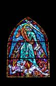 Stained glass window in Parish Church of the Holy Blood in Graz, Styria, Austria — Stock Photo