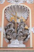 Holy Trinity, portal of Dreifaltigkeitskirche ( Holy Trinity ) church in Graz, Styria, Austria — Stock Photo