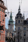 Town square, main street and the city hall of Graz, Austria — Stock Photo