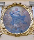 Vergine Maria affresco sulla facciata di casa a Graz, Austria — Foto Stock
