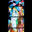Flight to Egypt , stained glass church window in the parish church of St. James in Medugorje — Stock Photo #65593249