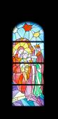 Nativity Scene, Adoration of the Magi, stained glass church window in the parish church of St. James in Medugorje — Stock Photo
