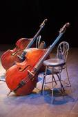 Contrabasses on a scene of a concert hall — Stock Photo