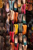Moroccan colourful leather shoes — Stock Photo