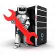 Robot and red key — Stock Photo #53707213