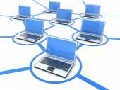 Network of laptops — 图库照片
