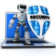 Robot and shield — Stock Photo #72658123