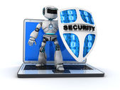 Robot and shield — Stock Photo