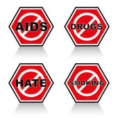 Stop AIDS, stop drugs, stop hate,stop smoking — Stock Vector