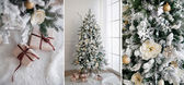 Christmas tree with presents underneath in living room, collage. — Stock Photo
