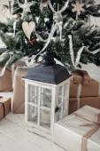 Christmas tree with presents and lantern  — Fotografia Stock