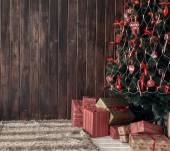 Wooden background and christmas tree — Zdjęcie stockowe