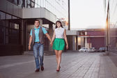 Happy young couple in city  — Stock Photo