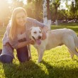 Beautiful woman playing with her dog Labrador retriever — Stock Photo #77136105