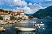 View on sea bay and Perast — Stock Photo
