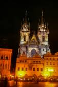 Night view on Church of Our Lady before Tyn — Stock Photo