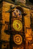 Night view on Astronomical Clock in the Old Town of Prague — Stock Photo
