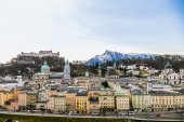Top view on Salzburg city and Hohensalzburg fortress at winter,  — Stockfoto