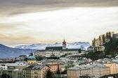 Top view on Salzburg city at winter, Salzburg Austria — Stock Photo