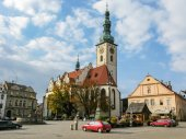 Old town central square panorama in Tabor, Czech Republic — ストック写真