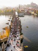 Top view on Charles Bridge in Prague — Stock Photo