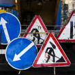 Road signs, guard post , road works — Stock Photo #51937385