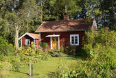 Swedish red little cottage — Stock Photo
