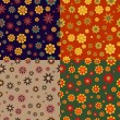 Set of seamless patterns of flowers — Stock Vector #67368997