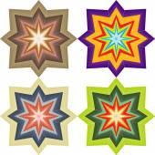 Four abstract colored symmetric star — Stok Vektör