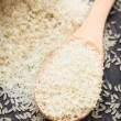 White uncooked rice in a spoon — Stock Photo #55007181