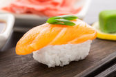 Nigiri sushi with salmon — Stock Photo