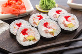 Sushi rolls with tobiko and shrimps — Stock Photo