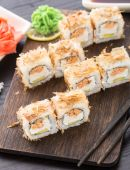 Sushi rolls with salmon teriyaki — Stock Photo