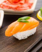 Nigiri sushi with salmon — Stock Photo