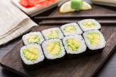 牛油果寿司卷 — 图库照片